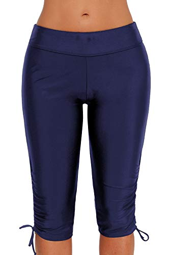 Urchics Womens Plus Size Rash Guard Capris Long Swim Shorts Tankini Bottom Blue XXXL ()