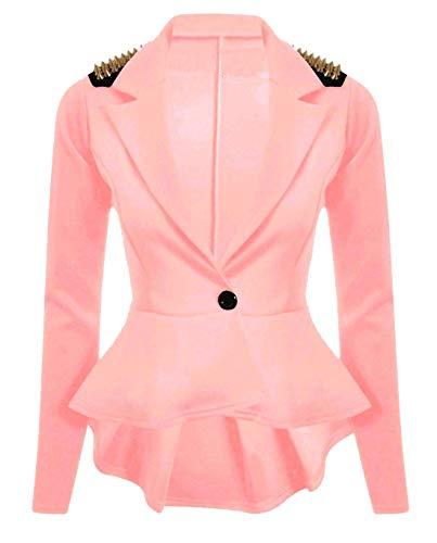 Blazer Peplum Ladies Giacca Womens Wear Studded Islander Fit S Coral Party Fancy Slim 3xl Spike Fashions Dress xqX5HwOI