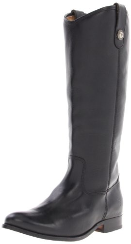 FRYE Women's Melissa Button Boot, Black Soft Vintage Leather, 10 M US