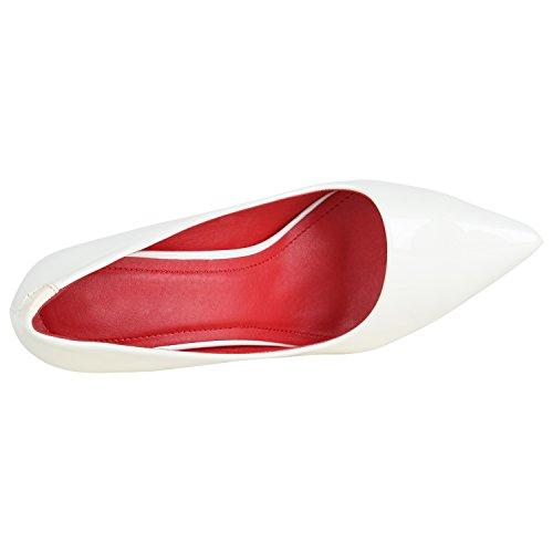 Stiefelparadies Spitze Damen Pumps Lack High Heels Stilettos Klassische Schuhe Flandell Weiss Rot