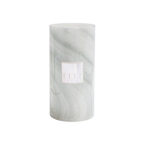 Elle Decor Marble Round Pillar LED Candle 4 x 8, Gray (Pillar 4x8 Candle)