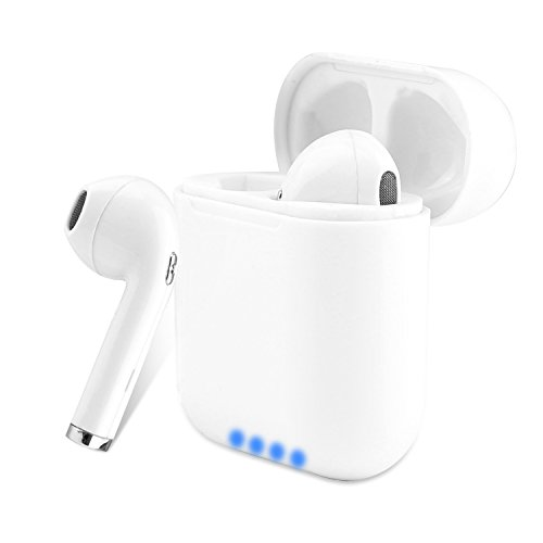 wireless earbud bluetooth, Bluetooth 4.2 Wireless Sports Earphone/Stereo-Ear Sweatproof Headphones with Noise Cancelling and Charging Case for 아이폰 X/8/7/6/6s plus Samsung Galaxy S8, S8 Plus