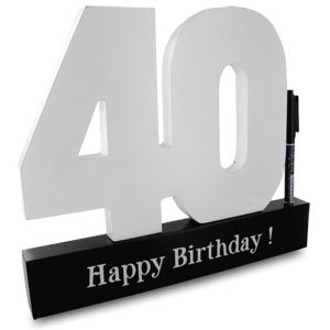 Male Boy Happy 40th Birthday Signature Write on Numbers Sign