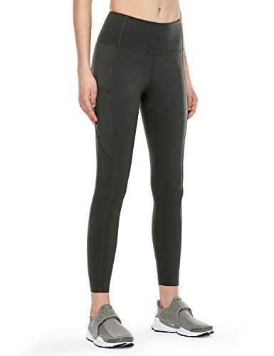CRZ YOGA Women's High Waisted Yoga Pants with Pockets Naked Feeling Workout Leggings-25 Inches Olive Green 25