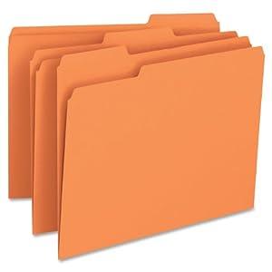 Smead File Folder, 1/3-Cut Tab, Letter Size, Orange, 100 per Box (12543)