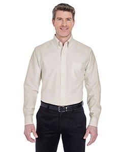 UltraClub Men's Classic Wrinkle-Resistant Long-Sleeve Oxford XL Tan