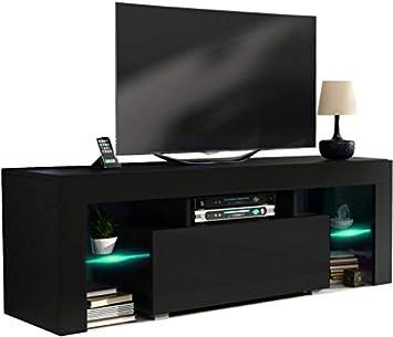 Meuble Tv 130 Cm Corps Noir Mat Et Porte Noir Laquée Avec Led Rgb