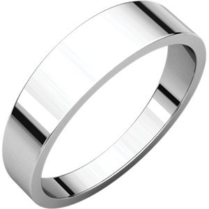 - 14K White Gold Flat Tapered Band, Size: 5.5
