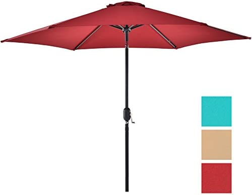 NATUREFUN Outdoor Patio Umbrella 9-Feet Market Table Umbrella with Push Button Tilt and Crank Burgundy