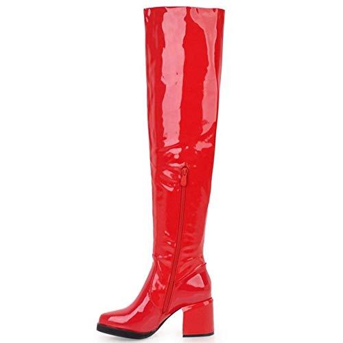 Rouge Bottes Cuissardes Bloc Taoffen Haut Talon Femmes BFRwxYv