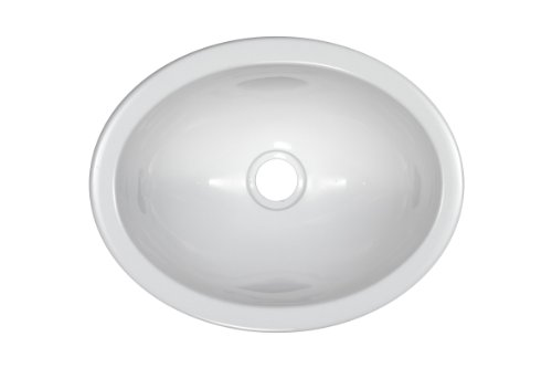 Lyons Industries DKSENV01-1.5 White 13-Inch by 10.25-Inch Oval Acrylic Entertainment Sink with a 1.5-Inch Drain Opening