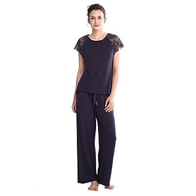 Keyocean Women's Pajamas Set in Viscose, Short Sleeve and Full Length Pants Sleepwear Set, Dark Blue