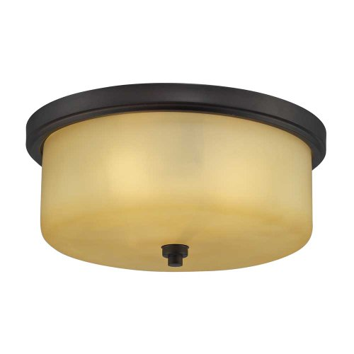 Elk 11478/3 3-Light Flush Mount with Light Amber Glass Shade, 13 by 6-Inch, Aged Bronze Finish