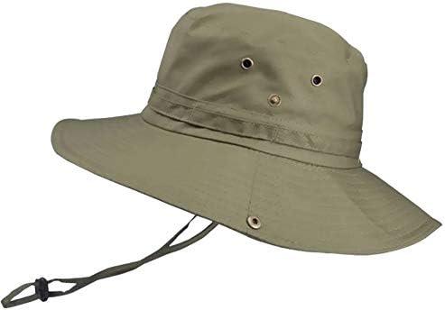 JUEJI サファリハット UVカット ハット 日焼け防止 帽子 つば広 軽薄 吸汗通気 日除け 紫外線対策 折りたたみ あご紐付き (グリーン)