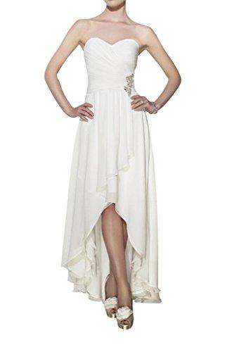 Milano Bride Laessig Damen Herzform Brautjungfernkleider Brautkleider Abendkleid HI-lo Chiffon A-Linie