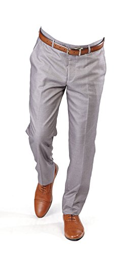 AZAR MAN New Men's Tailored Slim Fit Flat Front Pants Dress Slacks by (38 Waist, Silver)