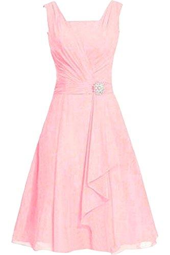 Kleider Traeger Zwei Partykleider Abendkleider Kurz Einfach Ballkleider Orange Damen Rosa mia Chiffon La Braut Knielang qB1OYwAnf