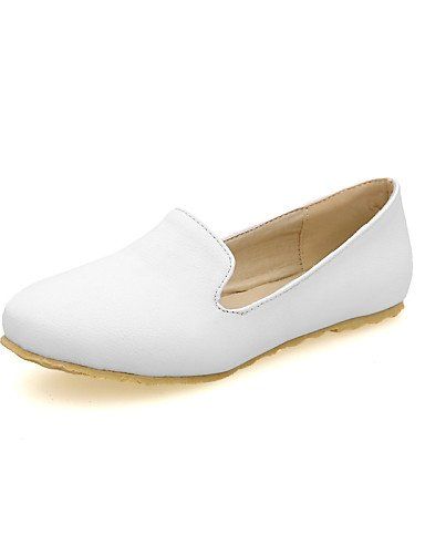 ZQ gyht Zapatos de mujer-Tacón Plano-Punta Redonda-Planos-Casual-Semicuero-Negro / Rojo / Blanco , white-us8 / eu39 / uk6 / cn39 , white-us8 / eu39 / uk6 / cn39 green-us6.5-7 / eu37 / uk4.5-5 / cn37