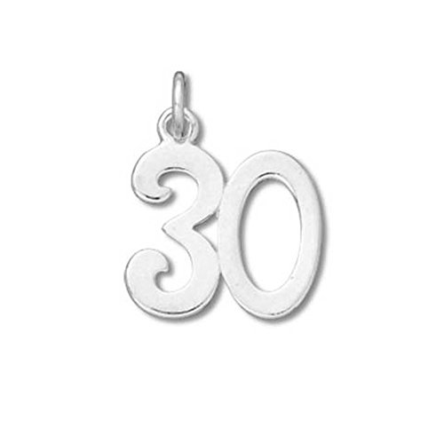 Sterling Silver #30 Birthday Charm with Split Ring #53032