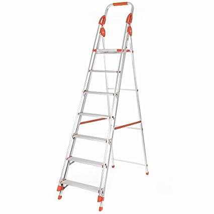 Bathla Sure Step Titanium - 6 ft Platform Height (Total height 8 ft) Foldable Aluminium Ladder with Support Hand Rails & 5-Year Warranty