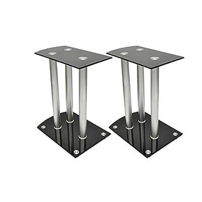 HomyDelight Speaker Stand & Mount, Aluminum Speaker Stands 2 pcs Black Glass