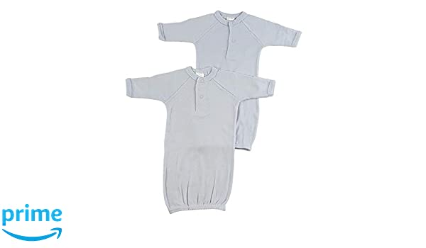 4 Preemie Blue Rib Knit Gown Boy Preemie 100/% Cotton Mitten Cuffs Elastic Bottom