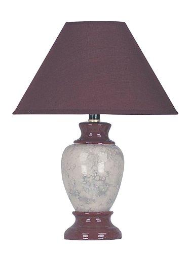 ORE International 609BG 15 Ceramic Accent Table Lamp, Burgundy Green Ceramic Lamp