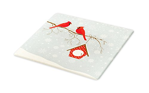(Lunarable Cardinal Cutting Board, Birdhouse and Red Cardinals on a Tree Branch on a Snowy Night, Decorative Tempered Glass Cutting and Serving Board, Small Size, Vermilion Pale Sage Green Cream)