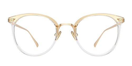 TIJN Women Retro TR90 Metal Round Glasses Frame Optical Rx-able ()