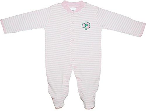 Creative Knitwear University of Notre Dame Fighting Irish Shamrock Striped Footed Baby -