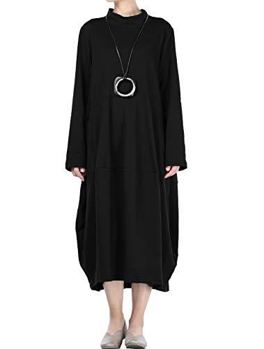 Mordenmiss Women's Autumn Turtleneck Long Baggy Dress with Pockets M Black (Cotton Knit Long Dress)