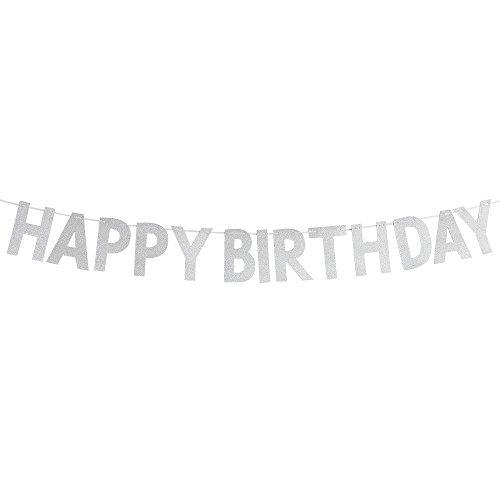 (Karoo Jan Silver Glitter Happy Birthday Banner, Happy 1st 3rd 10th 16th 30th 40th 50th 60th 90th Birthday Party Decorations)
