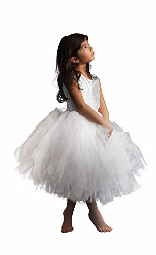 AbaoSisters Sequin Flower Girl Sleeveless Princess Birthday paty Dress 2-12 Years White Size 10
