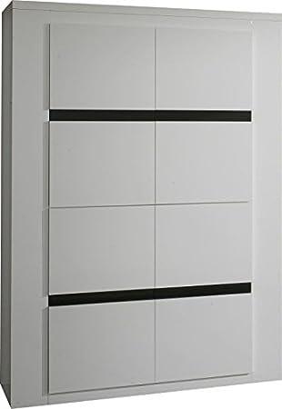Meuble de rangement salle à manger blanc et noir laqué: Amazon.fr ...
