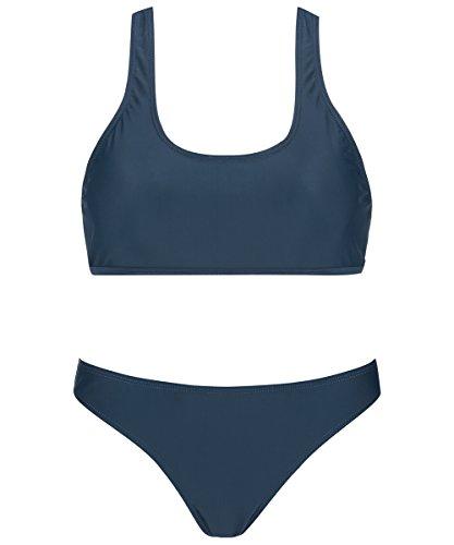 Racerback Crop Sport Bikini Set, Padded Blue Solid Swimsuit For Women, Blue - Women's Swimwear Sport