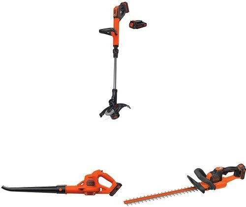 BLACK DECKER LSTE525 20V MAX Lithium Easy Feed String Trimmer Edger with 2 batteries and sweeper hedge trimmer