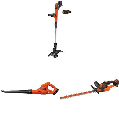 (BLACK+DECKER LSTE525 20V MAX Lithium Easy Feed String Trimmer/Edger with 2 batteries and sweeper + hedge)