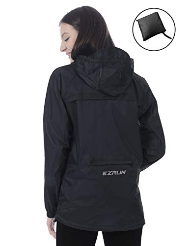 - EZRUN Women's Waterproof Hooded Rain Jacket Windbreaker Lightweight Packable Rain Coats(Black,l)