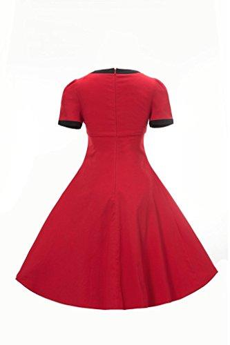 Retro Business Damen Sommerkleid Rot Rundhals Kurzärmel Kleid MUXILOVE 50s Cocktailkleid Faltenrock q0wUOU