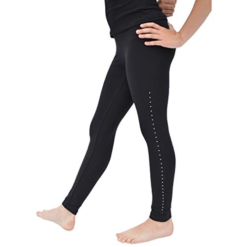 Stretch is Comfort Cotton, Metallic and Print Girl's Footless Leggings (Medium, Black Rhinestone) ()
