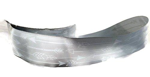 Gray/White Arrow Grosgrain Ribbon - 3 Yards