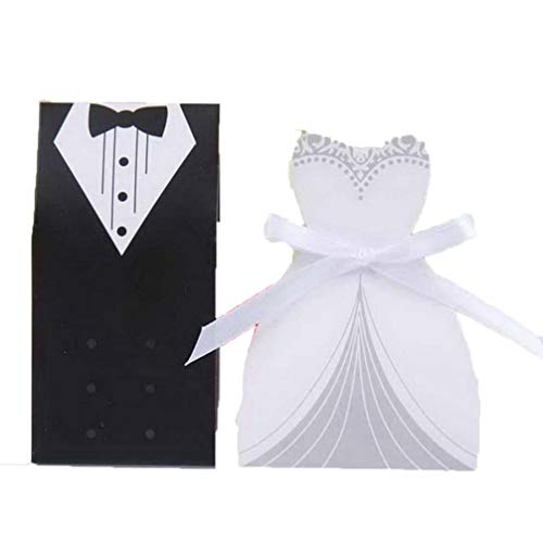 MEIZOKEN 50pc Candy Favor Theat Boxes Bridal Gift Cases Groom Tuxedo Dress Gown Ribbon Wedding Favor Candy Box for Wedding Party Favor
