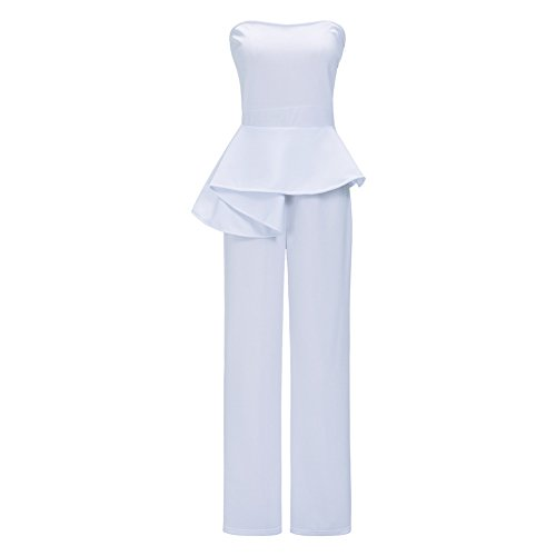 Womens White Pants Suit (Womens Sexy Off Shoulder Strapless High Waist Peplum Ruffle Wide Leg Long Pants Jumpsuit Romper White, X-Large)