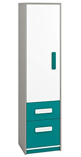 Kinderzimmer - Schrank Renton 05, Farbe: Platingrau/Weiß/Blaugrün - Abmessungen: 199 x 50 x 40 cm (H x B x T), mit 1 Tür, 2 Schubladen und 4 Fächern