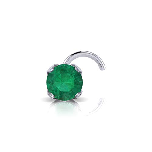 2mm 0.03 Carat Emerald Stud Nose Ring In 14K White Gold