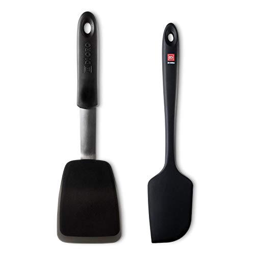 DI ORO Gold Premium 2-Piece Silicone Kitchen Spatula Set - 1 Standard Turner Spatula & 1 Large Silicone Spatula (Black) - 600 F Heat-Resistant Rubber Spatulas - Best Silicone Kitchen Utensil Set