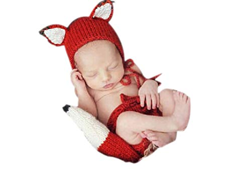 Vedory Baby Photography Props Girl Boy Photo Shoot Outfits Newborn Crochet Costume Infant Knitted Fox Hat Pants Photography Shoot, Multicolor, 0-3 Months -