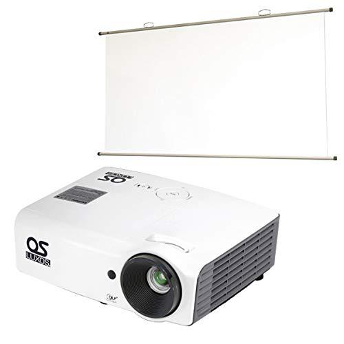 SVGA DLPプロジェクター/77インチ 掛図スクリーンセット LUXOS ルクソス LP-300SV1S1 B07GXMYB8X