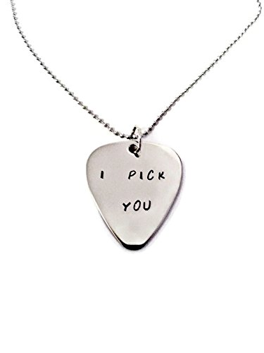 Moonstone Creations I Pick You Guitar Pick Hand Stamped Necklace By