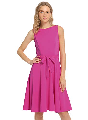 Pintage Women's Boat Neck Sleeveless A Line Dress with Belt S Magenta ()